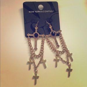 Funky New York & Co Cross Gold Earrings